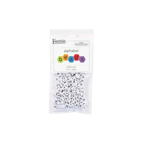 EBL Alphabet Beads Coin 7mm White 250pc - Medium