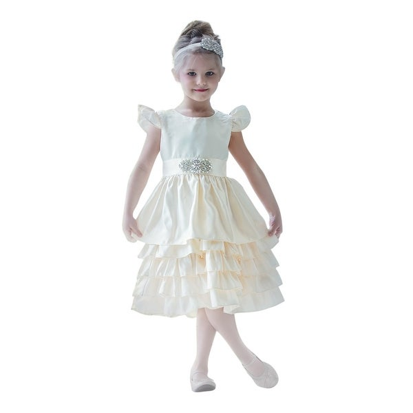 Think Pink Bows Baby Girls Ivory Cascade Sabrina Flower Girl Dress 1Y
