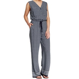 Max Studio NEW Blue Women's Size Large L Drawstring Wide Leg Jumpsuit