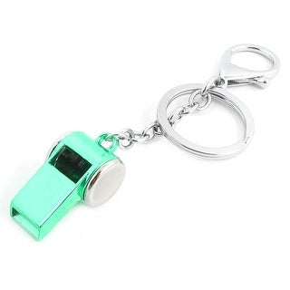 Unique Bargains Silver Tone Pale Green Metal Whistle Pendant Keychain Key Ring Holder