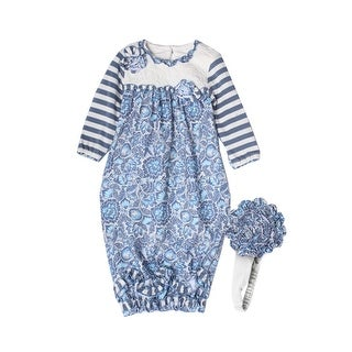 Isobella & Chloe Baby Girls Bonnie Blue Ruffle Flower Pattern Layette Sack