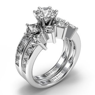 Amcor Design 14KT Gold 2.85 CT Channel Round & Princess Cut Diamond Matching Bridal Set - White H-I