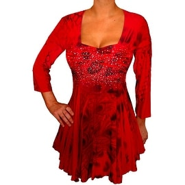 Funfash Plus Size Red Top Rhinestones Empire Waist Long Sleeves Top Shirt Blouse