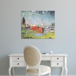 Easy Art Prints Claude Monet's 'Red Boats at Argenteuil' Premium Canvas Art