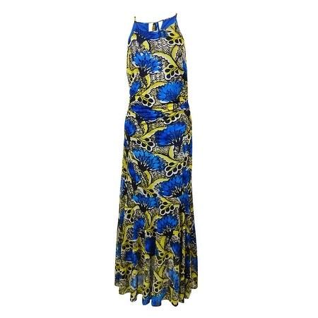 Nine West Women's Printed Mesh Halter Maxi Dress