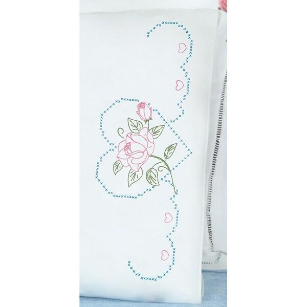 Stamped Pillowcases W/White Perle Edge 2/Pkg-Rose & Heart - White