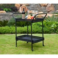 """32"""" Black Resin Wicker Outdoor Patio Garden Serving Cart with Wheels"""
