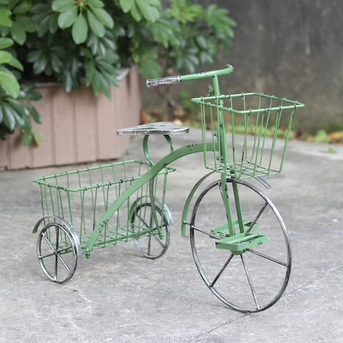 """Small Iron Tricycle Planter in Green - 24"""" L x 11.4"""" W x 17.7"""" H"""