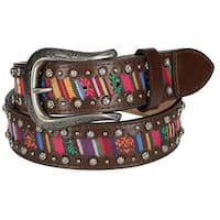 Roper Women's Multi Color Fabric Inlay Leather Belt