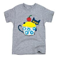Pete The Cat With Big Cupcake-Youth Short Sleeve Tee