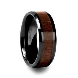 YUKON Beveled Black Ceramic Ring with Black Walnut Wood Inlay 8mm (More options available)