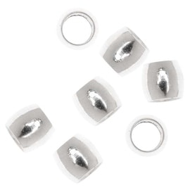Silver Plated Crimp Beads 2.5mm x 3mm (50 Beads)