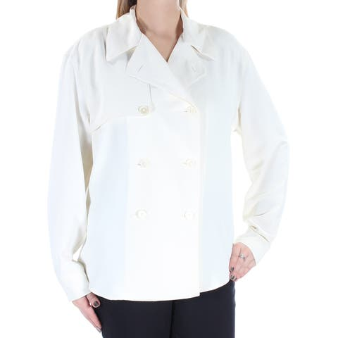 RALPH LAUREN Womens Ivory Cuffed Collared Button Up Wear To Work Top Size: L