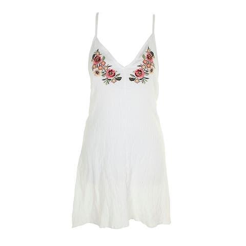 Miken Swim Juniors White Spaghetti Strap Embroidered Dress Cover-Up XL