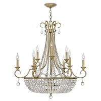 Fredrick Ramond FR43759 12-Light 2 Tier Draped Chandelier from the Caspia Collection - silver leaf - n/a