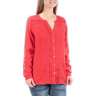 Womens Red Cuffed V Neck Casual Button Up Top Size S