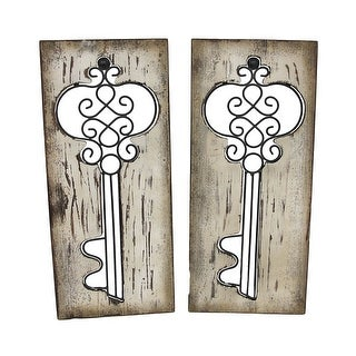 Pair of Vertical Wooden Panels with Wrought Iron Key Cutouts - White
