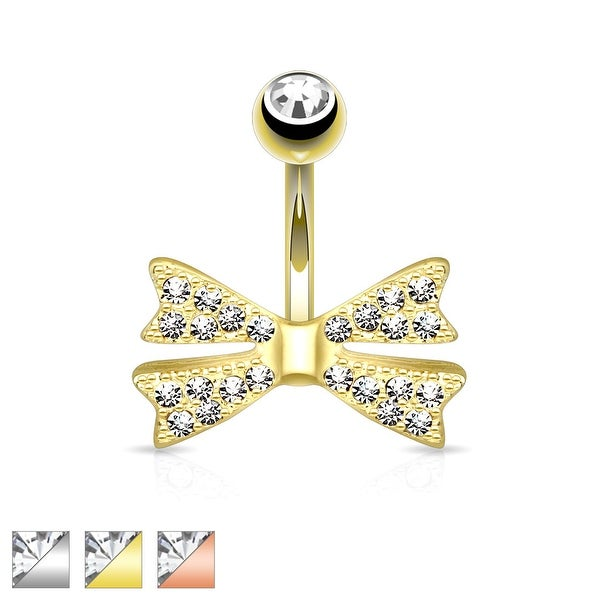 Clear Gem Paved Bow Tie Non-Dangle Navel Ring