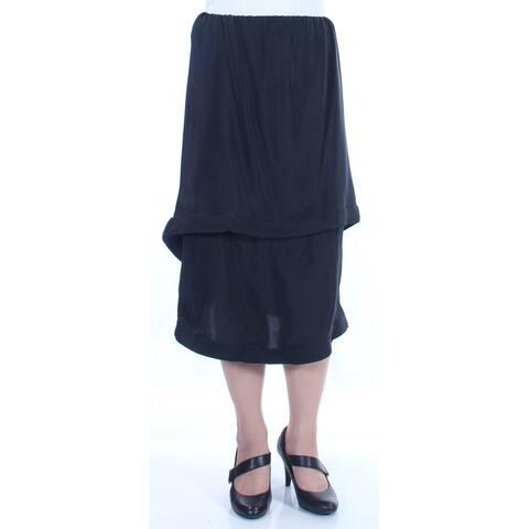 LANVIN Womens Black Midi Layered Evening Skirt Size: 8