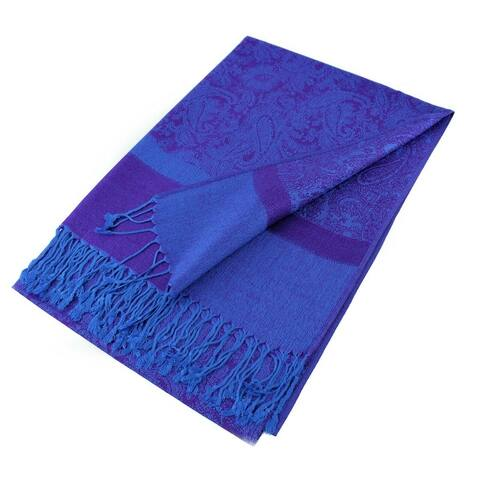 "Paisley Jacquard Pashmina Shawl Wrap Scarf Stole - 28"" width x 78"" length with Fringes"