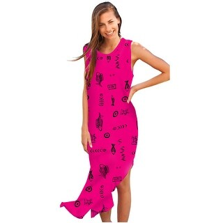 Ingear Womens Long Cotton Tank Dress Cover Up (Option: Pink)
