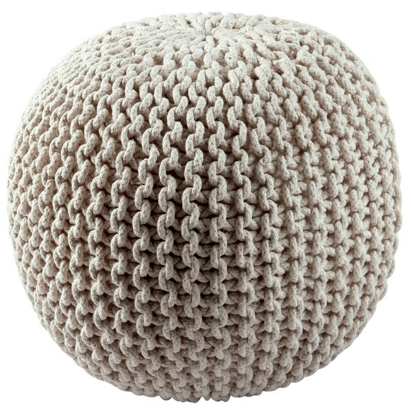 Cotton Rope 16-inch Off-white Pouf. Opens flyout.