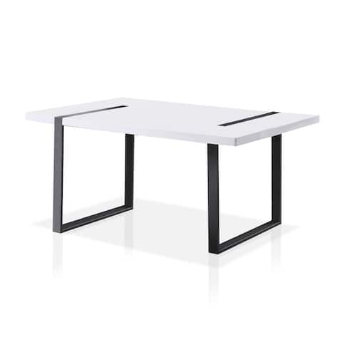 Furniture of America Trimfel Contemporary White 66-inch Dining Table
