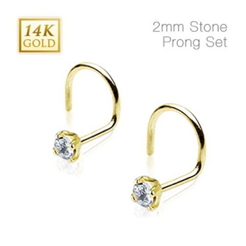 14 Karat Solid Yellow Gold Nose Screw Ring with 2mm Prong-Set Clear CZ - 20 GA (2mm Ball) (Sold Ind.)