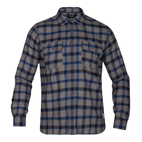 Hurley Mens Dri-Fit Flannel Button Up Shirt, Grey, Small