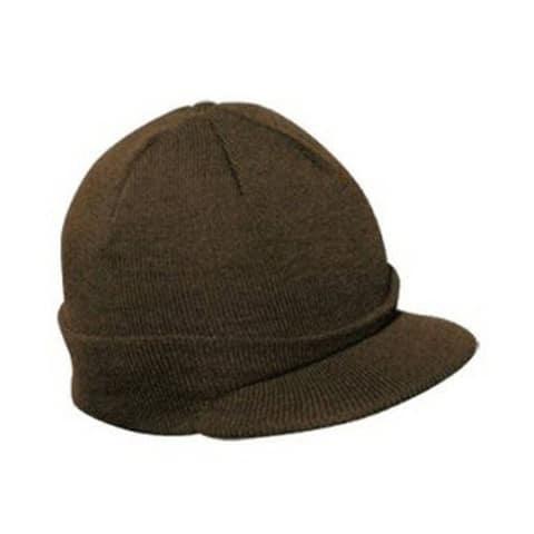 Knit Brim Ski Hat - Winter Visor Cap Skull Beanie (Brown)