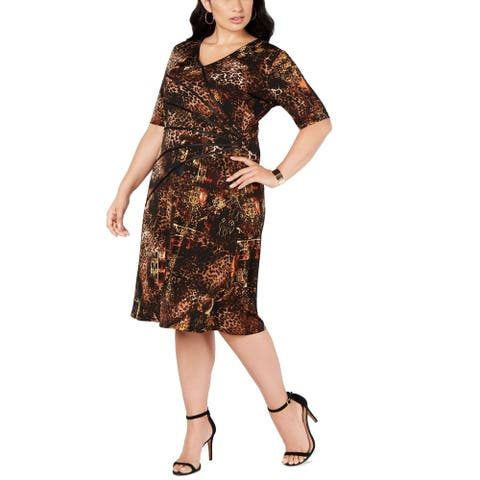 Connected Apparel Womens Sheath Dress Brown Size 16W Plus Printed