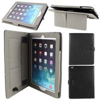 Litchi Pattern PU Leather Folio Stand Case Cover Black for iPad 2 3 4