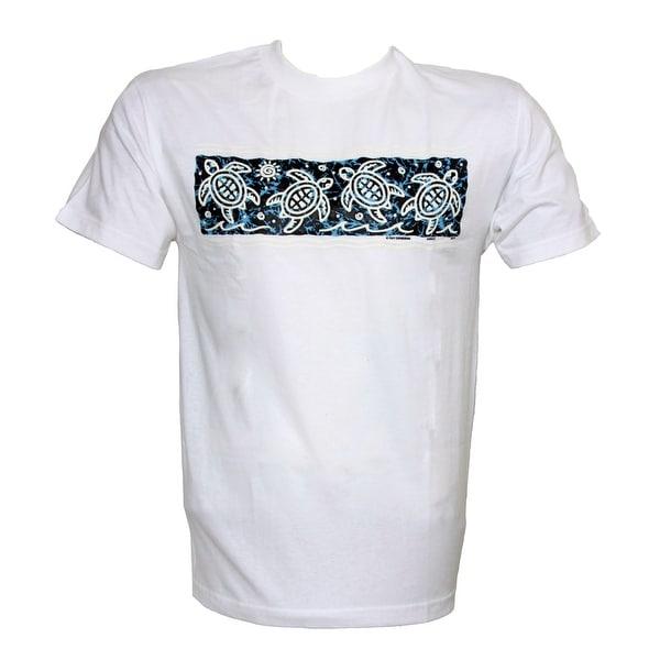 Men's Tropical Turtle Print Cotton T Shirt, White