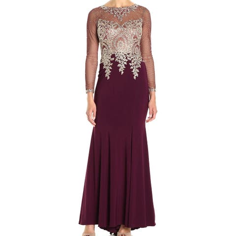 85c71da7705 Xscape Womens Sheer Sequined Embroidered Gown Dress