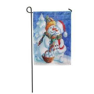 Loving Couple of Snowmen Snowman and Snow Woman Forest Watercolor Love February Garden Flag Decorative Flag House Banner