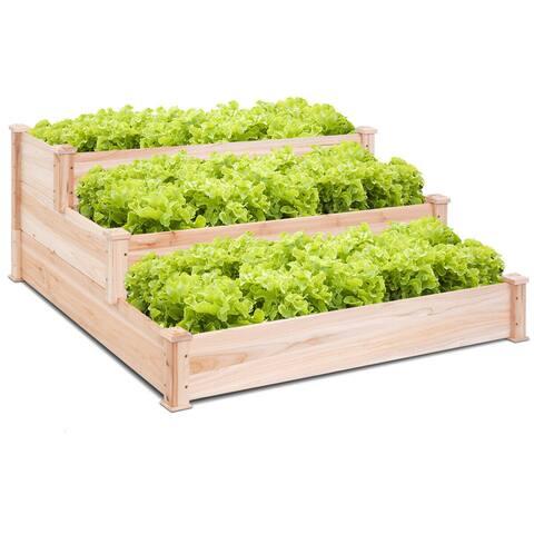 Costway Wooden Raised Vegetable Garden Bed 3 Tier Elevated Planter Kit Outdoor Gardening - wood