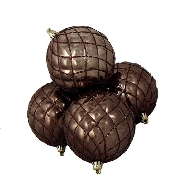 "4ct Shiny Mocha Brown Diamond Design Shatterproof Christmas Ball Ornaments 3.75"""
