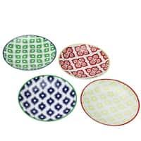 Set of 4 Colorful Belize Porcelain Salad Plates with Gift Box - Blue