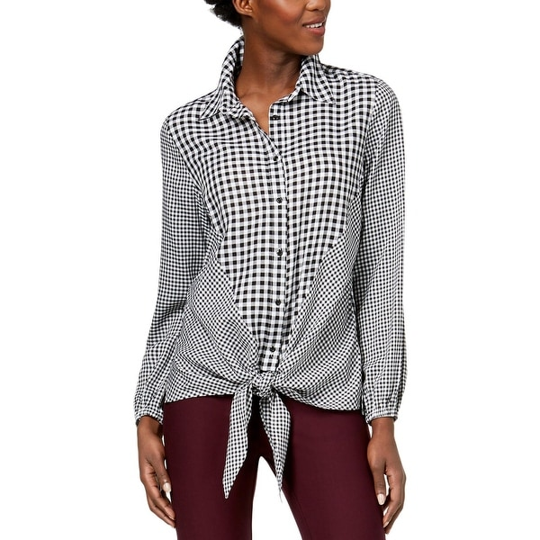 NY Collection Womens Button-Down Top Check Print Collar