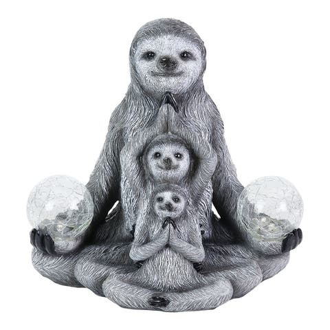 Exhart Solar Three Meditating Sloths in Lotus Position with Two LED Crackle Balls Statuary, 10 Inch