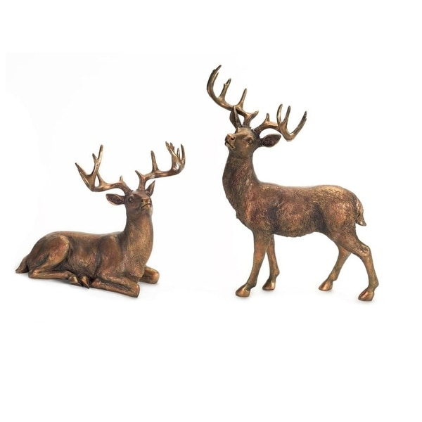 Set of 2 Standing and Sitting Deer Table Top Figure Decorations 20.75""