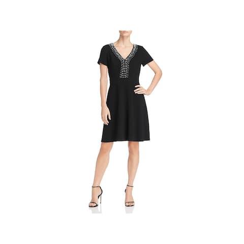 Karl Lagerfeld Womens Scuba Dress Pearl-Detail V-Neck