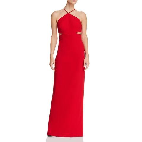 Aidan by Aidan Mattox Women's Cut-Out Full Length Halter Gown