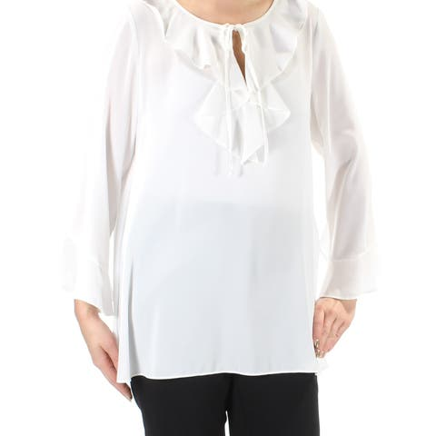 MAX STUDIO Womens White Textured Bell Sleeve Jewel Neck Blouse Wear To Work Top Size: L