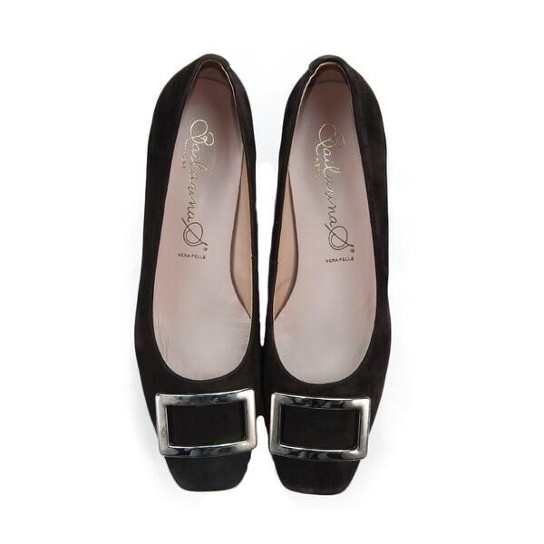 Bailarinas FLORA CFT Dark Brown Suede Leather Classic Square Toe Pump