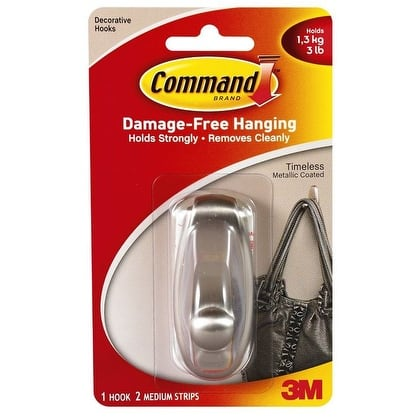 Command 17061BN Timeless Medium Hook, Brushed Nickel