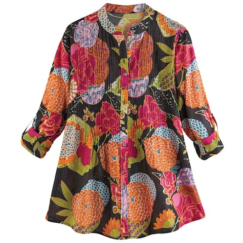 Catalog Classics Women's Bright Floral Print Blouse - Long Sleeve Banded Collar