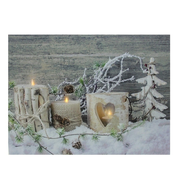 "LED Lighted Country Rustic Winter Triple Candles Christmas Canvas Wall Art 12"" x 15.75"""