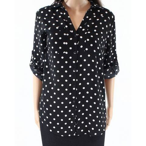 Philosophy Black Womens Size Small S Button-Up Polka-Dot Blouse