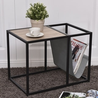 Gymax End Table Side Accent Metal Magazine Organizer Living Room Office